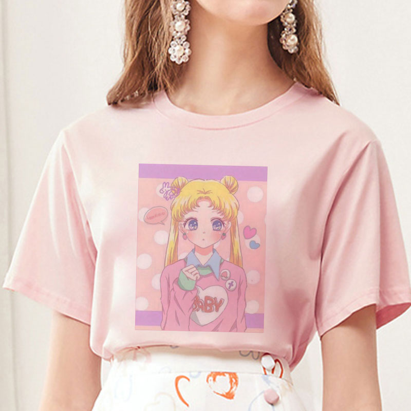 Summer 2019 New Arrival Cute Sailor Moon Anime Print Female Tshirt Japanese Clothes Harajuku Kawaii Women's T-Shirt Fashion Tops