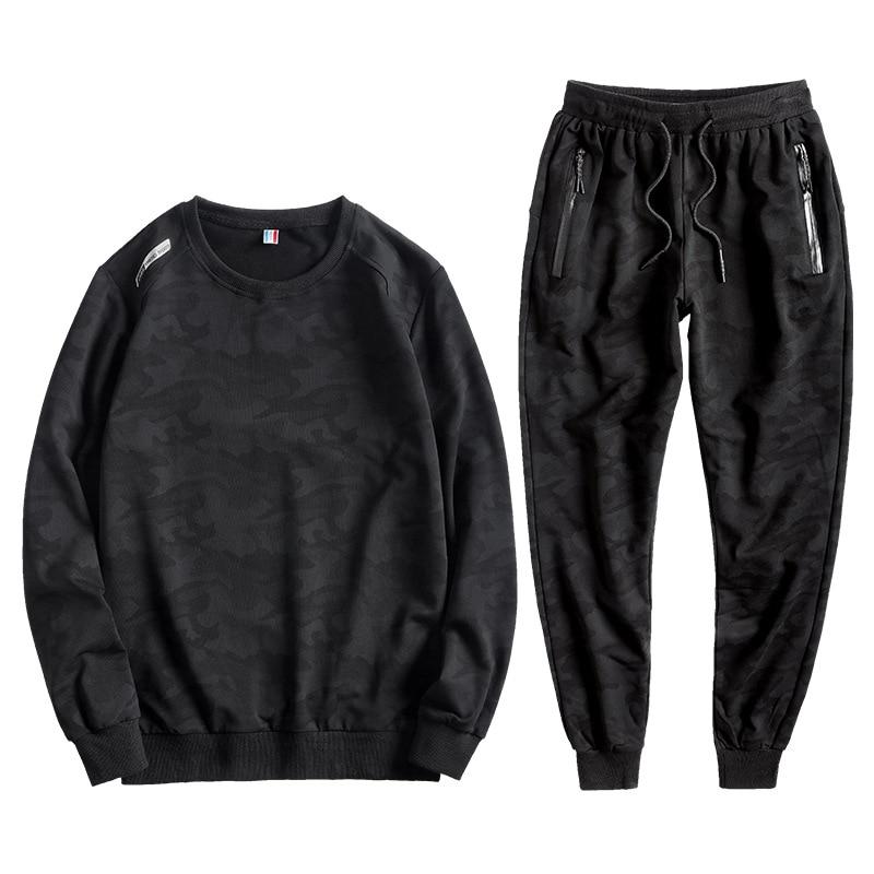 Men Camouflage Printed Set 2019 New Causal Tracksuit Sportswear Hoodies Sweatshirt Pants Jogger Suit Plus Size L-10XL Men Set