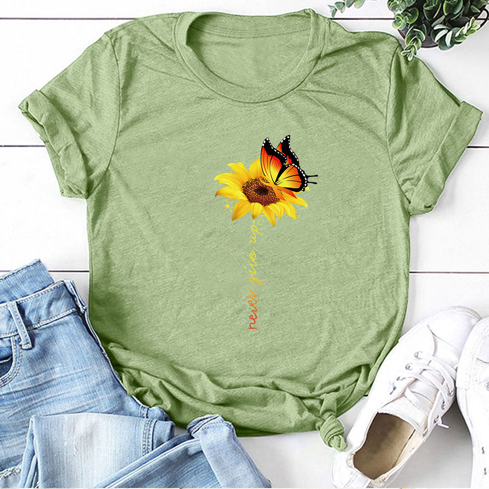 Aesthetic Cotton T Shirt Women Harajuku Graphic Tees Shirt Femme Sun Flower Butterfly White Women's T-shirt Never Give Up Tshirt(China)