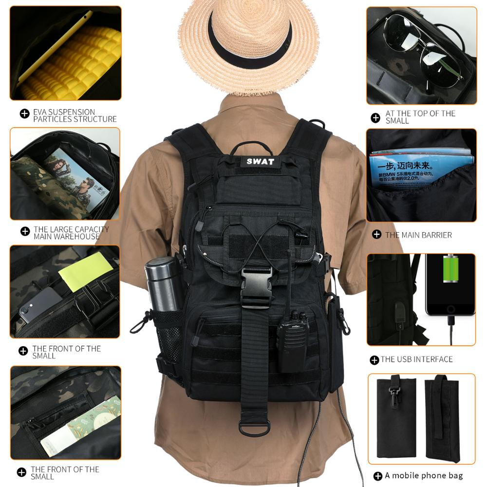 Sac à dos tactique militaire sac de camouflage militaire pour hommes sac de camping de chasse en plein air randonnée sac à dos d'alpinisme - 2