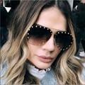 2020 женские солнцезащитные очки без оправы Роскошная брендовая дизайнерская металлическая оправа градиентные большие цветные солнцезащит...