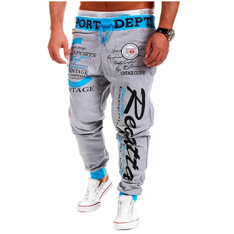 Jogger calças casuais dos homens calças esportivas dos homens de fitness calças de moletom apertadas calças de moletom impresso gym jogging sweatpants