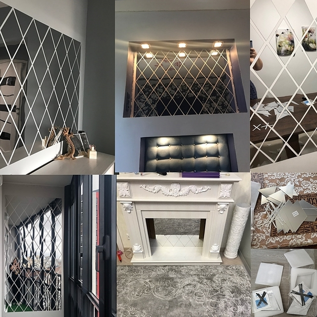 58Pcs DIY 3D Mirror Wall Stickers Diamonds Triangles Acrylic Wall Mirror Stickers for Kids Room Living Room Home Decoration 3
