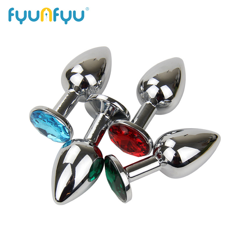 75 * 28mm Metal Mini Anal Sex Toys For Women & Men Stainless Steel Anal Butt Plugs + Crystal Jewelry Beads Sex Products