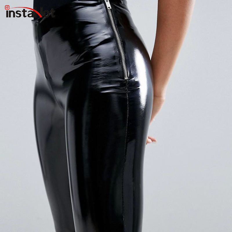 InstaHot Side Zipper Skinny Faux Leather Pants Women Pencil Slim Casual Leather Trousers Streetwear Solid Black Autumn Capris