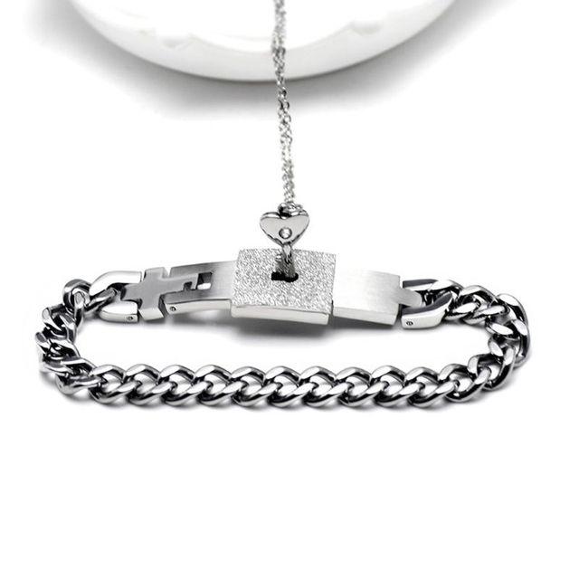 Titanium Puzzle Couple Heart Lock Key Couple Bracelet Necklace Lover