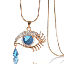 2019 new holt selling 80cm necklace sweater chain, big eyes tears crystal alloy necklace, vintage  long chain