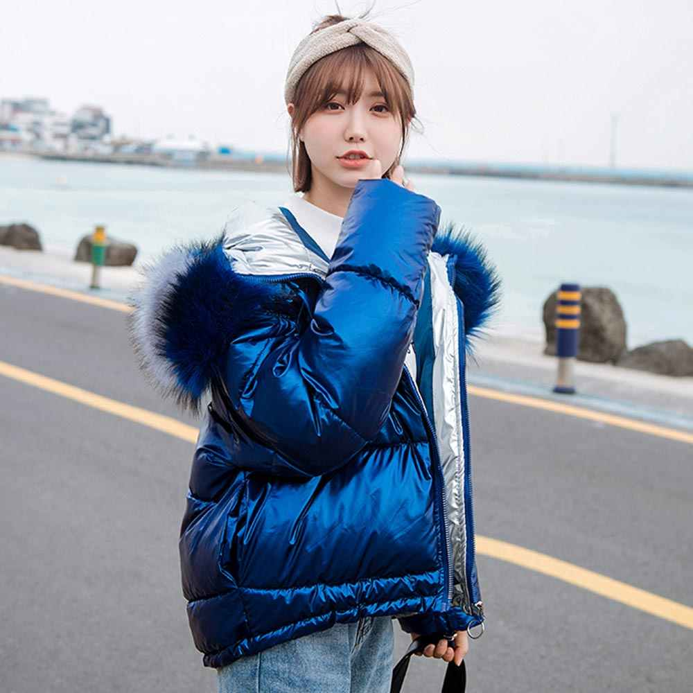 PinkyIsBlack Vrouwen Winter Parka Jas Jas 2019 Nieuwe Glossy Warm Vrouwen Fur Coat Hooded Korte Katoen Gewatteerde Winterjas Vrouwen