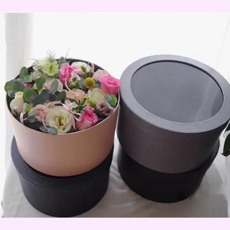 Nouvelle boîte cadeau fleur ronde avec boîte cadeau à la main sac câlin ronde boîte à fleurs en pvc avec boîte cadeau à la main cadeau décoration de mariage - 4