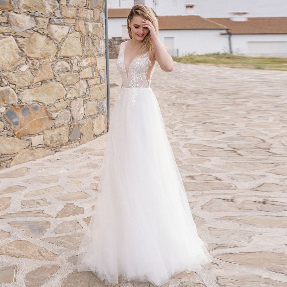 Elegant Tulle Beach A Line Wedding Dress 2020 Sheer O-neck Sleeveless White Ivory Applique Wedding Gowns Vestido de Novia