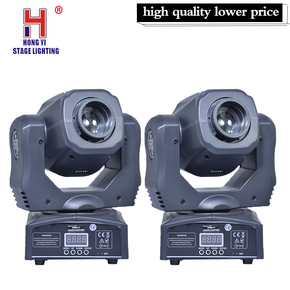 LED Spot Mini Moving Head Light 60W DMX Dj 8 Gobos Effect Stage Light (2pcs/lot )