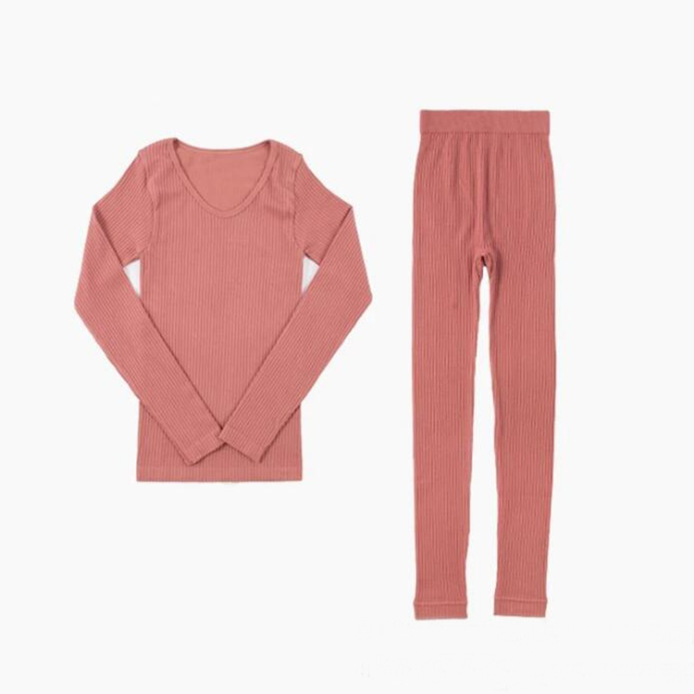 Women Winter Warm Inner Wear Thermal Underwear Long Striped Slim Pajama Set Suit Two Pieces Solid Colour Ladies Clothing Thermo