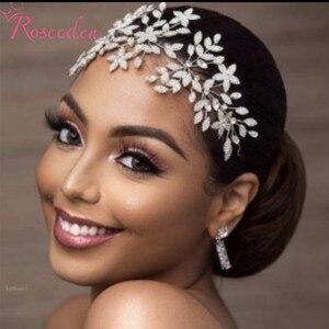 Image 2 - Fashion Cubic Zirconia Bridal Wedding Soft Headband Hairband Tiara CZ Bride Hair Jewelry Accessorie Hairpiece RE3533