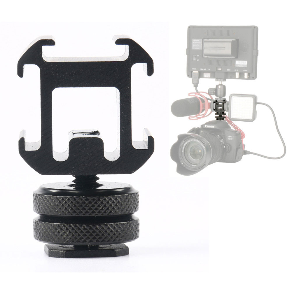 Three Head Extend Port Connect Microphone Use On Camera Mount Hot Shoe Connector Base Set Smooth Adapter For Video Light image
