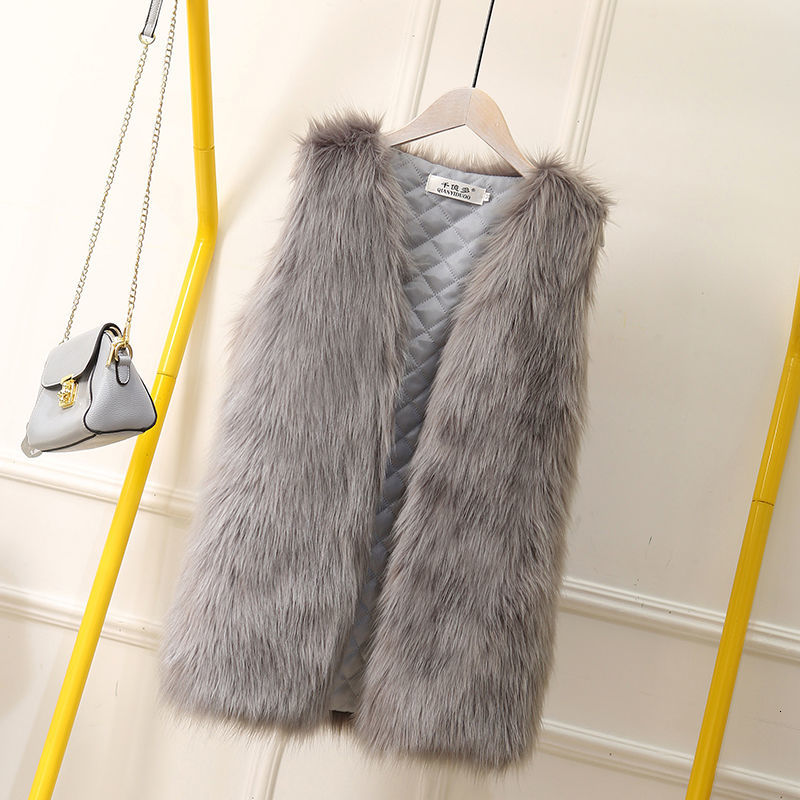 Big Size 4XL Faux Fur Coat Women Fashion Elegant Sleeveless Luxury Vest Woman Casual Slim Luxury Thick Warm Fur Jacket Winter