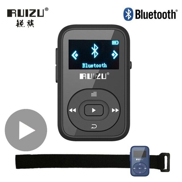 Ruizu LCD ספורט אודיו מיני Bluetooth Mp3 נגן מוסיקה אודיו Mp 3 Mp 3 עם רדיו דיגיטלי Hifi Hi Fi מסך Fm flac Usb 8GB קליפ
