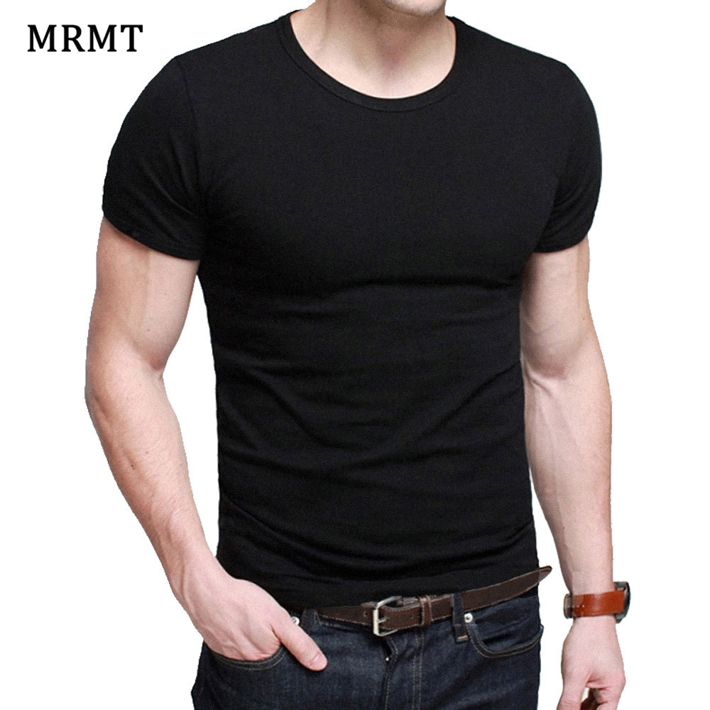 Lycra Men'S T Shirt Short Sleeve T-Shirt O-Neck Slim Solid Color Half Sleeved Tee Shirt 2019 MRMT