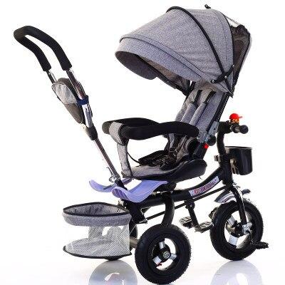 Poussette bébé 3 en 1 Portable bébé Tricycle poussette enfants Tricycle vélo vélo assis plat couché Tricycle chariot siège pivotant
