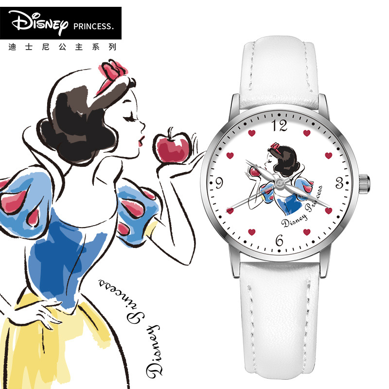 Disney Brand Child Girls Wristwatches Quartz Genuine Leather Children Watch Waterproof Princess Student Girl Watch