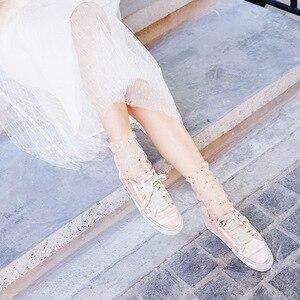 Image 4 - 봄 여름 투명 실크 양말 여자 울트라 얇은 한국 스타일 양말 패션 스팽글 핑크 레이스 섹시한 crimping 더미 양말