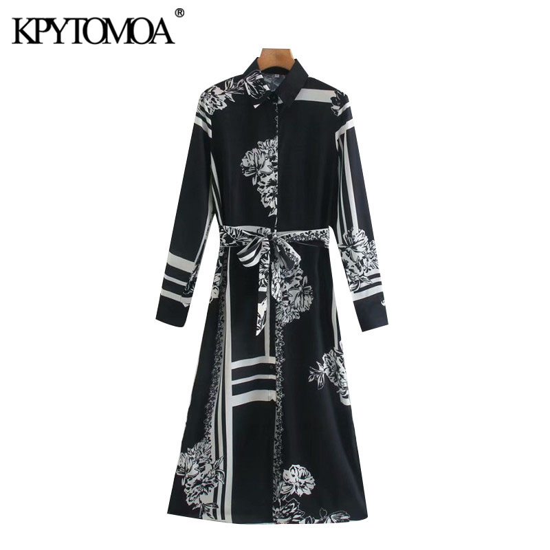 KPYTOMOA Women 2020 Chic Fashion With Belt Floral Print Midi Shirt Dress Vintage Long Sleeve Button-up Female Dresses Vestidos
