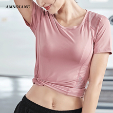 crop open back top sport bra femme yoga gym t shirt women shirts sports running tshirt workout fitness clothing womens tank tops Dry Fit Sport Shirt Fitness Crop Tight Top Yoga Tank Workout Tops Sports Bra For Women Gym Running T shirt Activewear Shirts