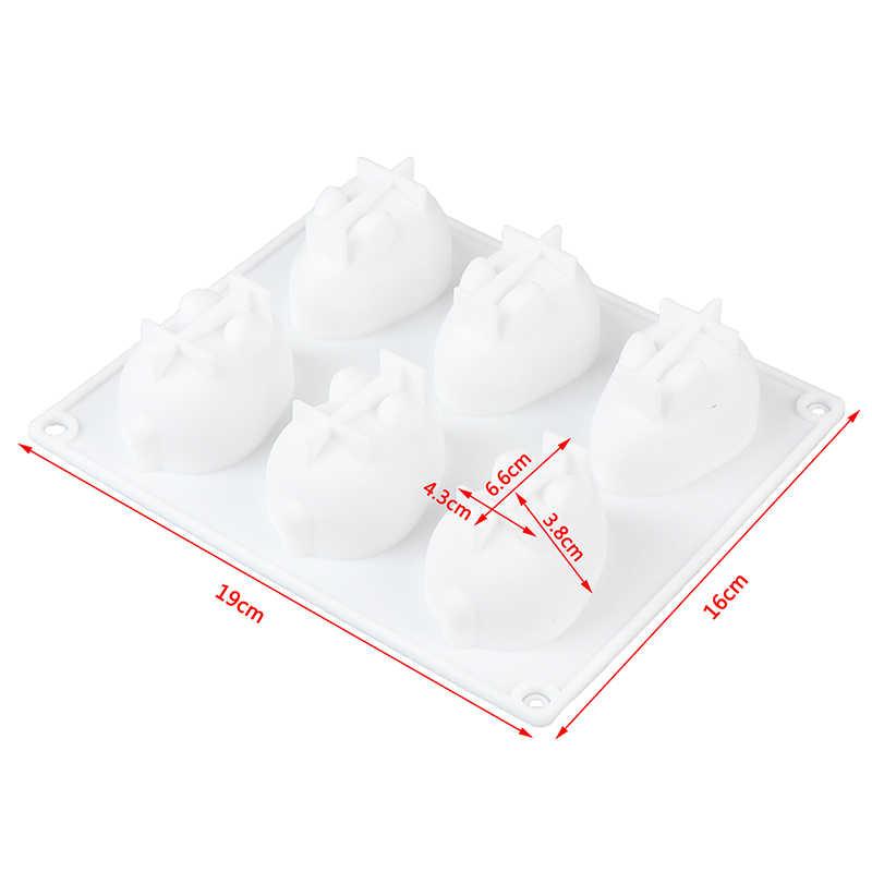 แม่พิมพ์ซิลิโคนสำหรับอบขนม Mousse ใหม่แม่พิมพ์ตกแต่งเค้กซิลิโคน 3D กระต่ายกระต่ายแม่พิมพ์เค้ก