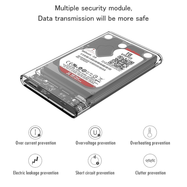 Reletech Hdd Case SATA  USB 3.1 External Hard Drive Case Enclosure with Cable for 2.5  SSD SATA Interface 5Gbps  hd externo 2