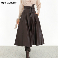 2019 Autumn/winter Women Long Skirts High Waist Pu Leather Skirt Women Best Quality Streetwear Skirts with A Bow brown Color