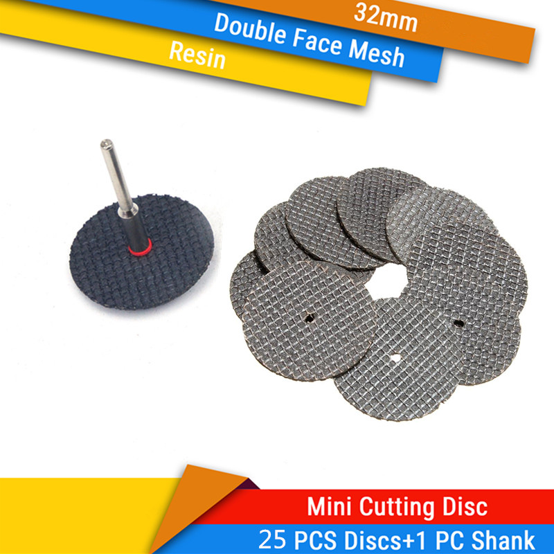 25Pcs Double-Face Mesh Cutting Disc + 1Pc 3mm Shank Resin Mini Circular Saw Blade For Soft Metal Wood Cutting Fits Dremel Tools