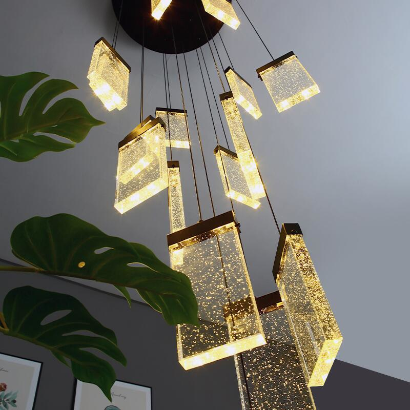 Staircase Crystal Chandelier Luxury LED Square Bubble Crystal Lamp Loft Duplex Chandelier Villa Hotel Lobby Decoration Lamp