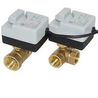 Válvula de bola motorizada de latón, actuador eléctrico de 3 cables, dos controles, AC220V, 3 vías/2 vías, DN15, DN20, DN25, DN32, DN40, con interruptor Manual