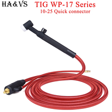 WP17 WP 17F 17FV TIG Welding Torch Quick Connector Gas-Electric Integrated Red Hose Cable Wires 4M 10-25 Euro Connector 13Ft