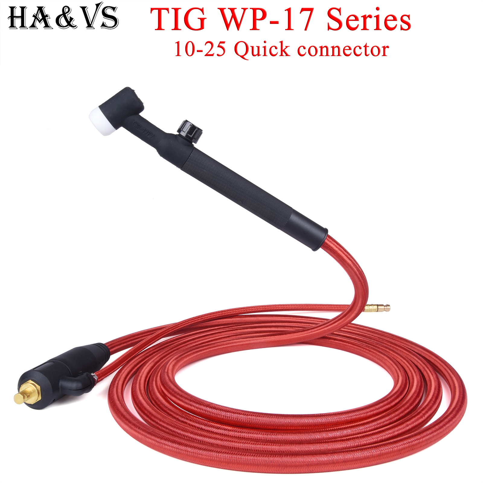 WP17 WP 17F 17FV TIG Welding Torch Quick Connector Gas-Electric Integrated Rubber Hose Cable Wires 4M 10-25 Euro Connector 13Ft