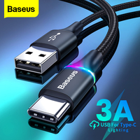 Baseus LED Beleuchtung USB Typ C Kabel Schnelle Lade Ladegerät Micro USB Daten Kabel Für Samsung Xiaomi Redmi Telefon USBC draht Kabel 3M