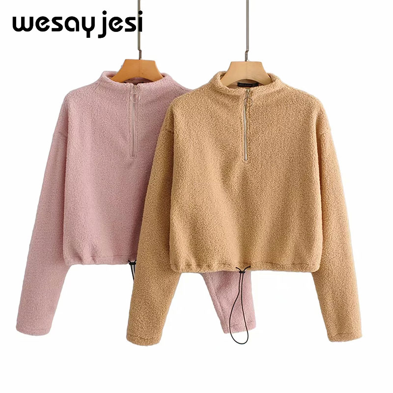 Harajuku Women's Sweatshirt Autumn Winter Hooded Ladies Oversize Khaki Pink Solid Hood Casual Hoodies for Women Girls