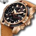 Часы LIGE мужские  спортивные  водонепроницаемые  кожаные  кварцевые  2019