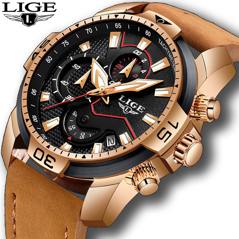 2019 New LIGE Mens Watches Top Brand Luxury Men Casual Leather Quartz Clock Male Sport Waterproof Watch Relogio Masculino
