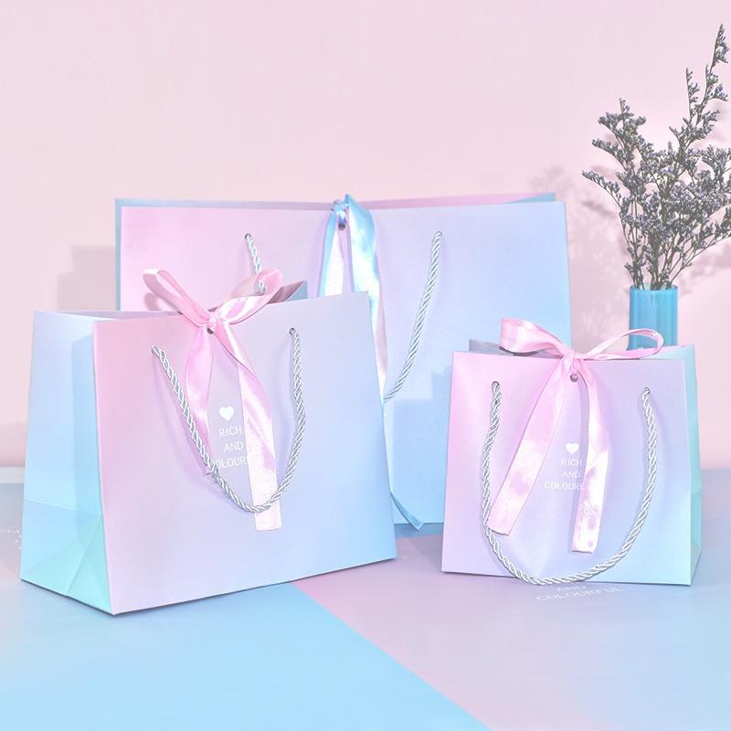 Изысканные вечерние подарок Бумага сумка коробка розовый голубой цвет с лентой 10 шт.
