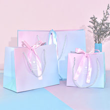 Boutique Party Gift Paper Bag Box Pink Blue Color with Ribbon 10 pcs