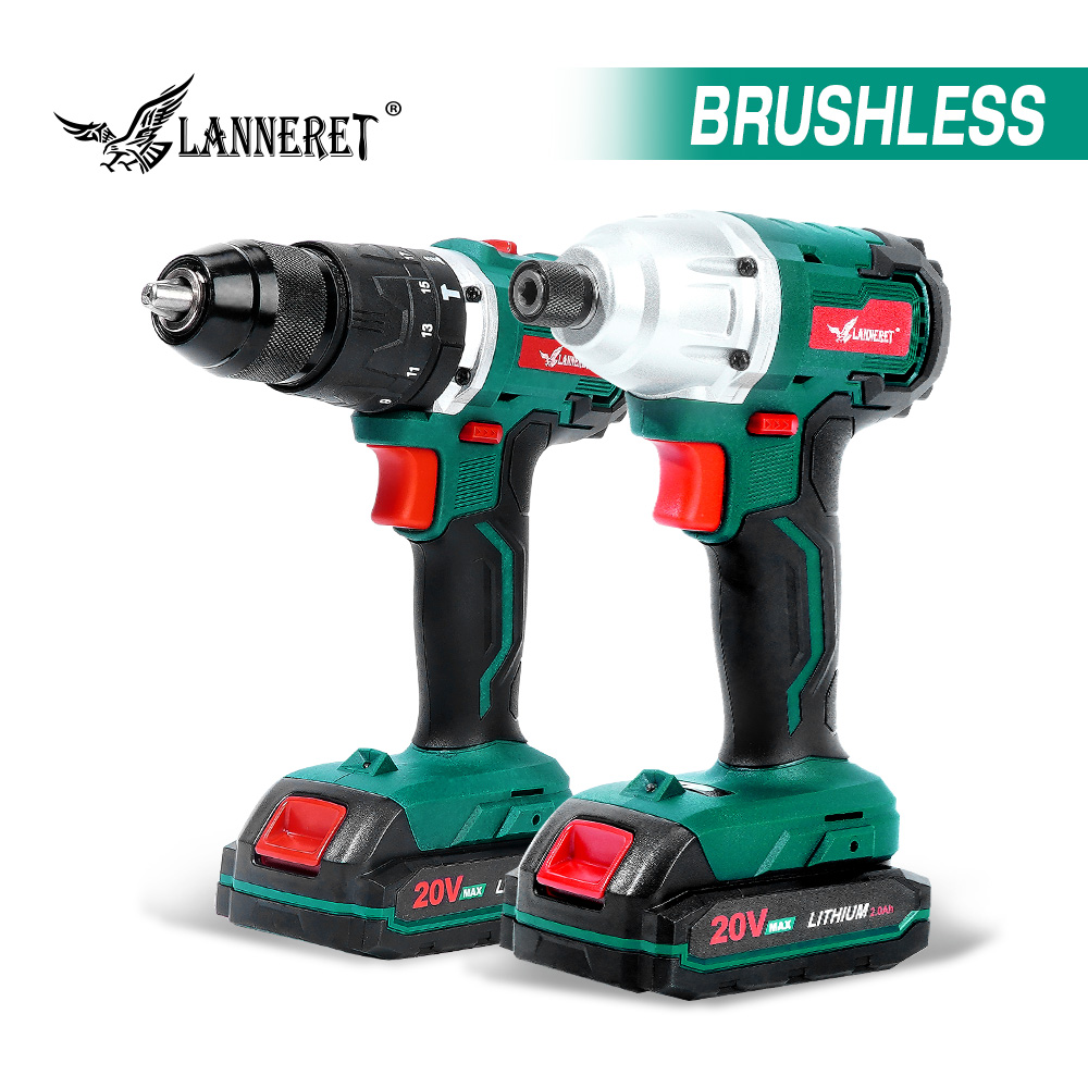 LANNERET Electric Drill Brushless Drill Brushless Driver 20V Cordless Drill Lithium Battery 13MM Drill Keyless