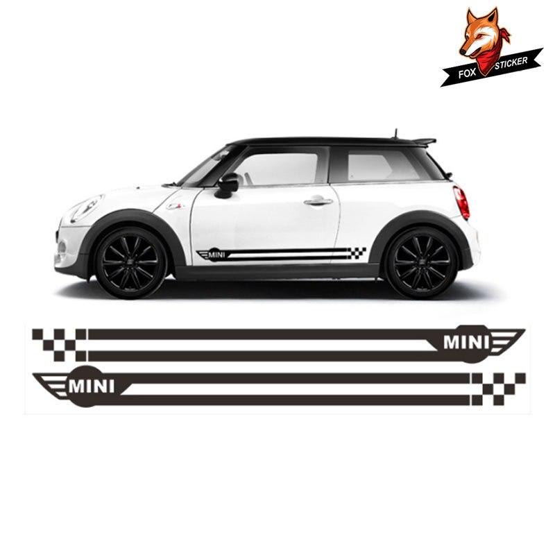 2pcs רכב מדבקת מדבקות רכב צד חצאית אדן מירוץ פס עבור מיני קופר r56 r57 r58 r60 r61 f56 r50 r53 r52 f55 רכב סטיילינג