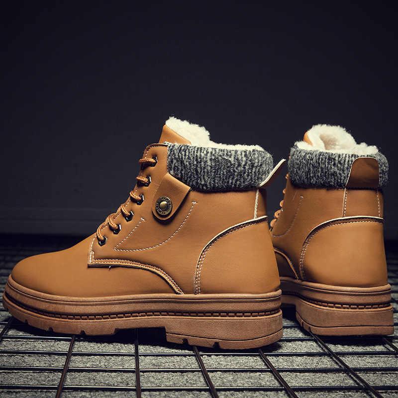 PUIMENTIUA Nuovi Scarponi Da Neve Calda Degli Uomini di Più di Velluto Scarpe Da uomo Esterno Freddo Stivali Impermeabili Stivali da Uomo di Alta- banda di Cotone Stivali