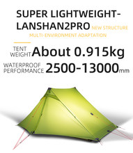 3F UL GEAR LanShan 2 Pro 2 Person Outdoor Ultralight Camping Tent 3/4 Season Professional 20D Silicon-Coated Tent