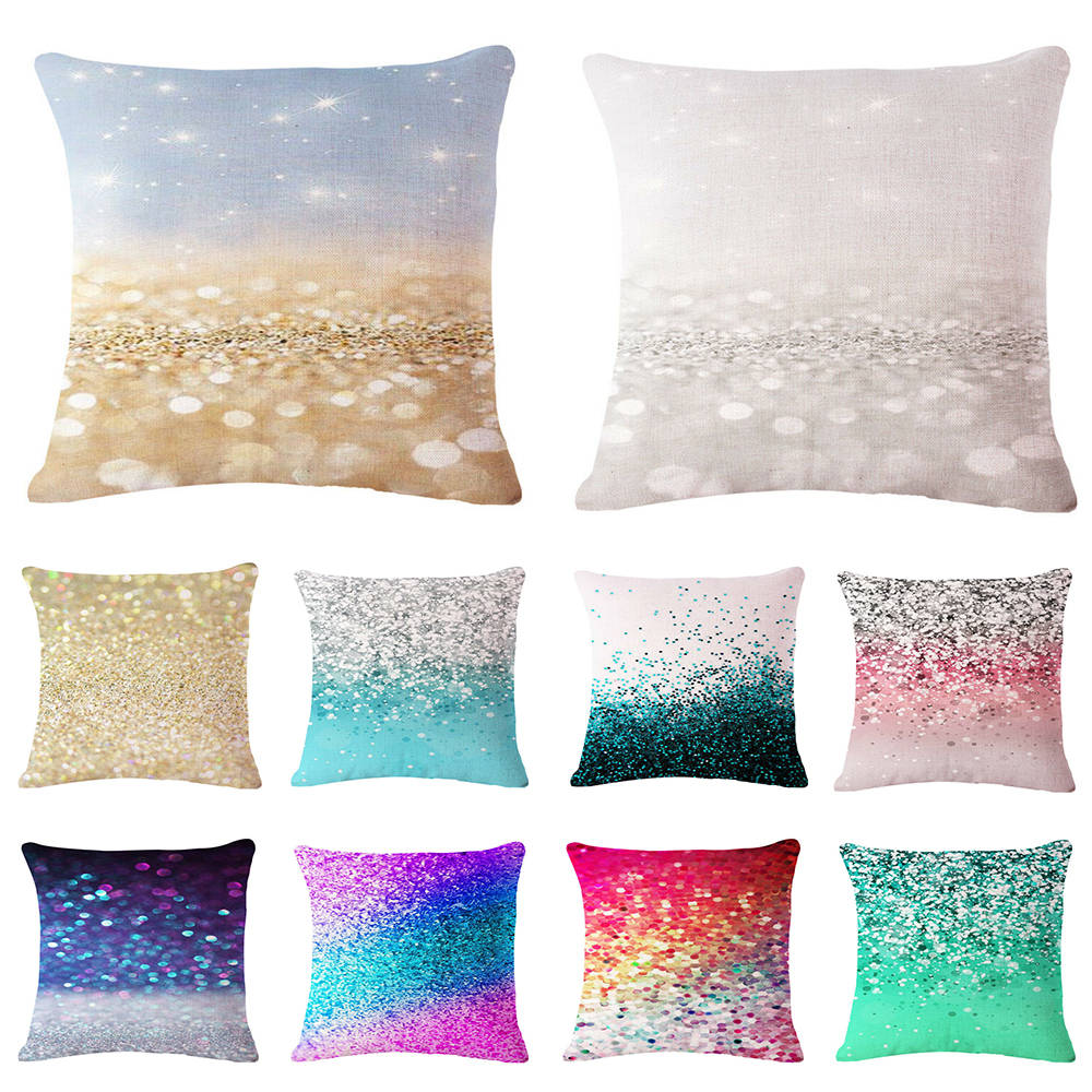 Colorful Glitter Cushion Cover Gradient Throw Pillowcase Cotton Linen Blue Pink Pillow Covers Home Car Seat Sofa Decor 45*45cm