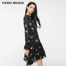 Vero Moda 2019 New Arrivals Vintage พิมพ์ Lace-up คอ A-Line ชุดชีฟอง | 31837D522(China)