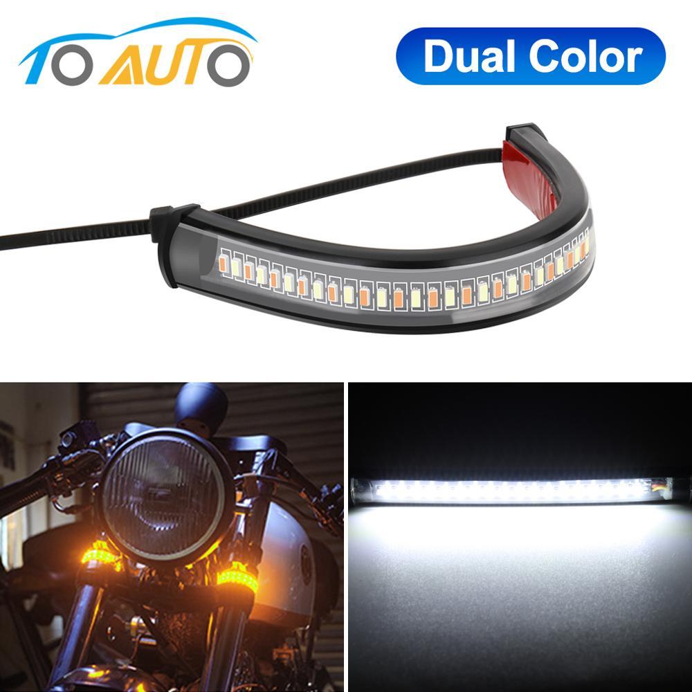 LED Motorcycle Turn Signal Light  DRL Amber White Moto Scooter Flasher Ring Fork Strip Lamp Flashing Blinker 12V