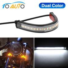 Led Motorfiets Richtingaanwijzer Drl Amber Wit Moto Scooter Flasher Ring Vork Strip Lamp Flashing Blinker 12V(China)