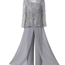 Женское элегантное кружевное платье для матери невесты из 3 предметов, костюм со штанами с короткой курткой, наряд с рукавами 3/4 для свадебного жениха