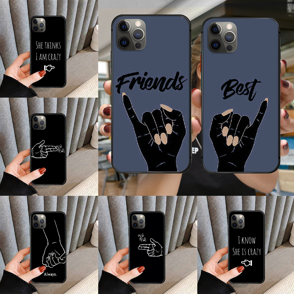 Чехол для телефона Best friends Forever BFF, чехол для iphone 5 5S 6 6S PLUS 7 8 11 12 mini X XR XS PRO SE 2020 MAX, черный Etui pretty